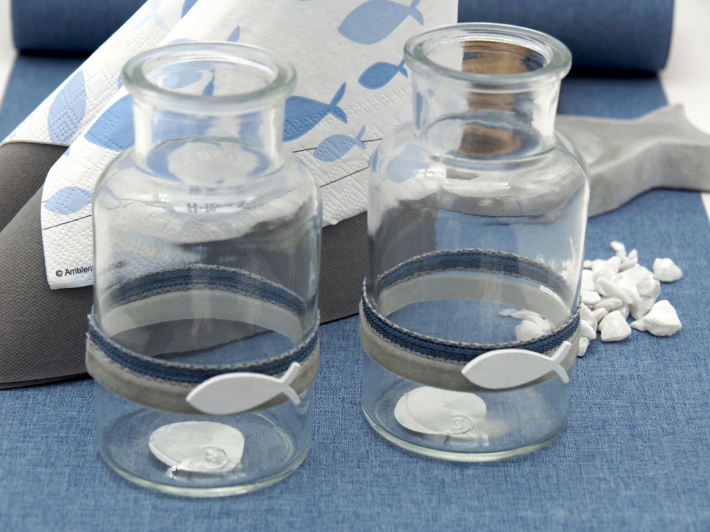 Vase Tischdeko Fisch Leinen Blau Grau Kommunion Konfirmation 2 Stück