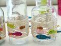 Tischdeko Kommunion Konfirmation Leinen Grün Pink Bunt Fisch SET 20 Personen 6