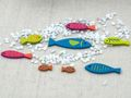 Tischdeko Kommunion Konfirmation Leinen Grün Pink Bunt Fisch SET 20 Personen 7