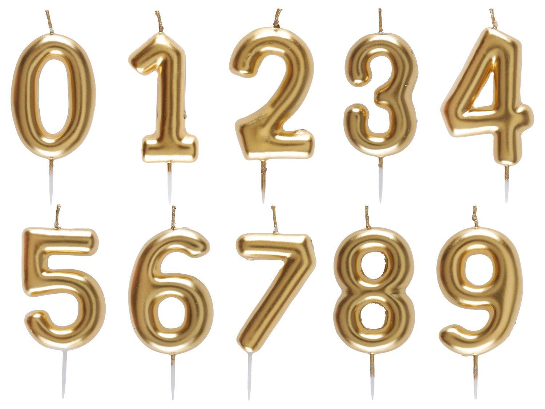 Geburtstag Kerze Geburtstagskerze Tortendeko Zahlen Gold 0 1 2 3 4 5 6 7 8 9 Deko