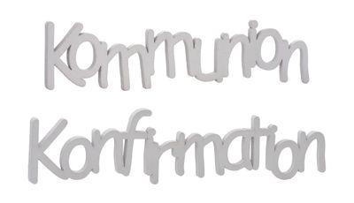 Schriftzug Tischdeko Kommunion Konfirmation Holz Weiß