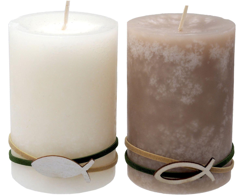 Kerzen Stumpenkerzen Tischdeko Kommunion Konfirmation Creme Beige Fisch 2 Stück