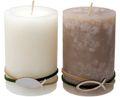 Kerzen Stumpenkerzen Tischdeko Kommunion Konfirmation Creme Beige Fisch 2 Stück 1