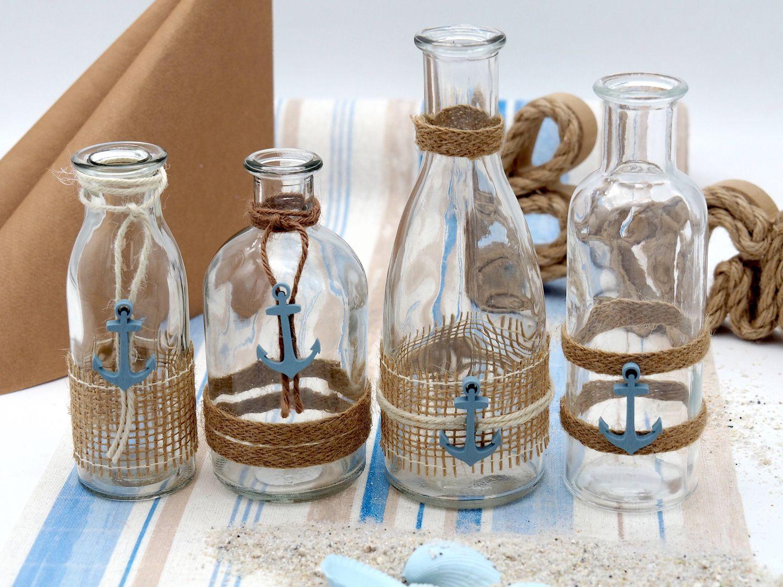 4 Vasen Tischdeko Deko Anker Natur Jute Maritim Tischdekoration Blau SET Party Sommer Tischdekoration