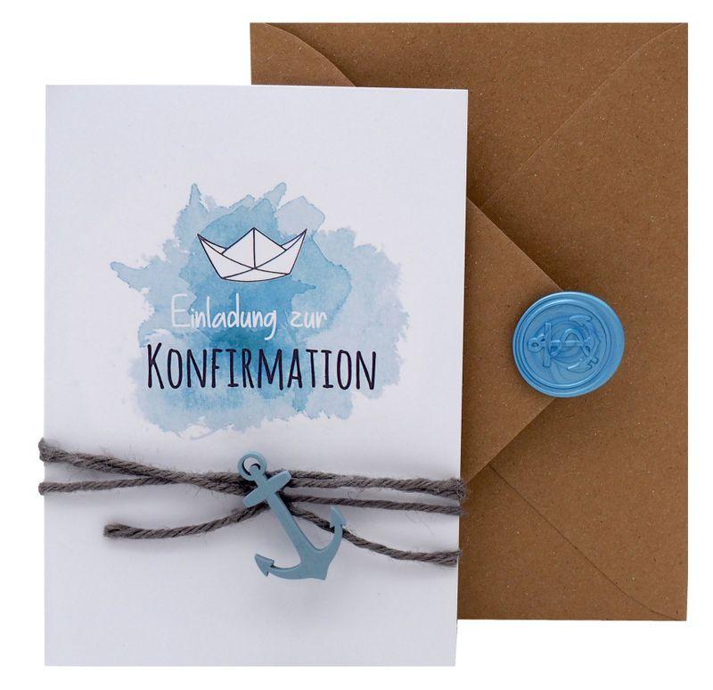 Einladungskarte Kommunion Konfirmation Taufe Karte Einladung Karte Umschlag Kraft Natur Boot Schiff Siegel