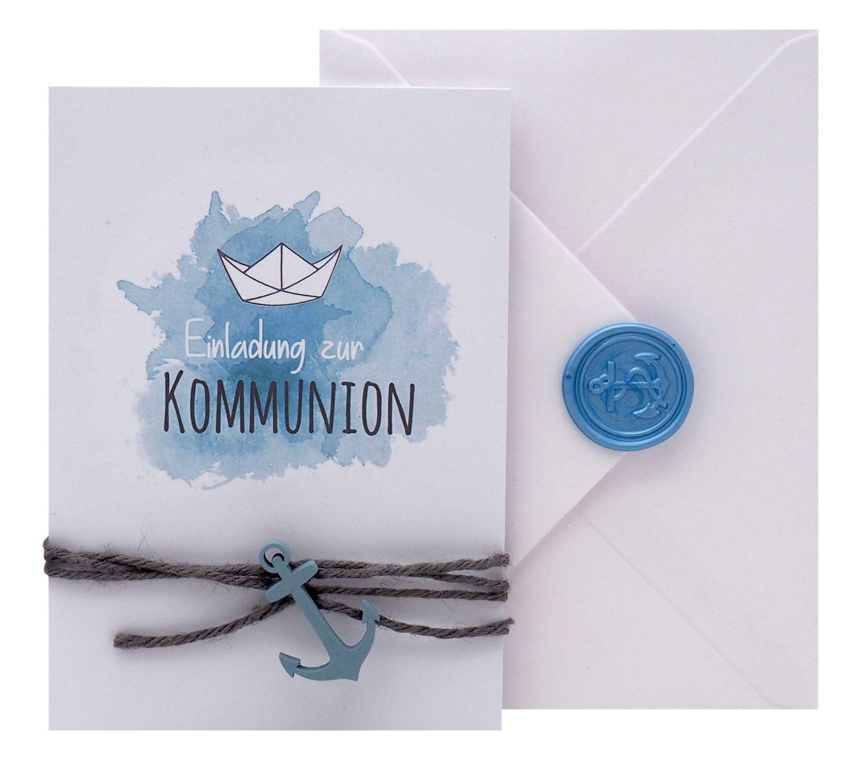 Einladungskarte Kommunion Konfirmation Taufe Karte Einladung Karte Umschlag Weiß Natur Boot Schiff Siegel