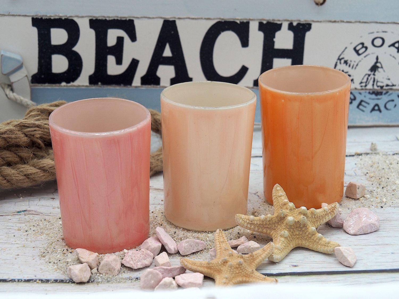 3 Teelichthalter Teelichtgläser Rosa Apricot Tischdeko Deko Sommer Geburtstag Party