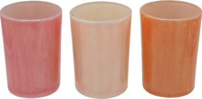 3 Teelichthalter Teelichtgläser Apricot Rosa Sommer Tischdeko