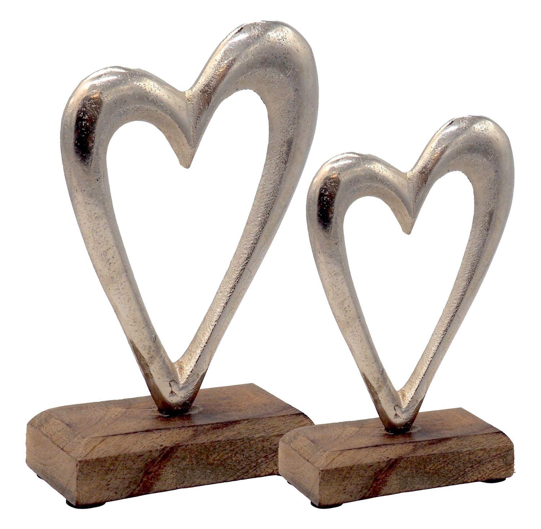 Deko Figuren Herz auf Holzsockel Aufsteller Tischaufsteller Holz Aluminium Tischdeko Hochzeit 2 Stück