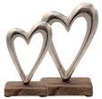 Deko Figuren Herzen auf Holzsockel Aufsteller Tischaufsteller Holz Aluminium Tischdeko Hochzeit 2 Stück 3