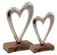 Deko Figuren Herz auf Holzsockel Aufsteller Tischaufsteller Holz Aluminium Tischdeko Hochzeit 2 Stück 1