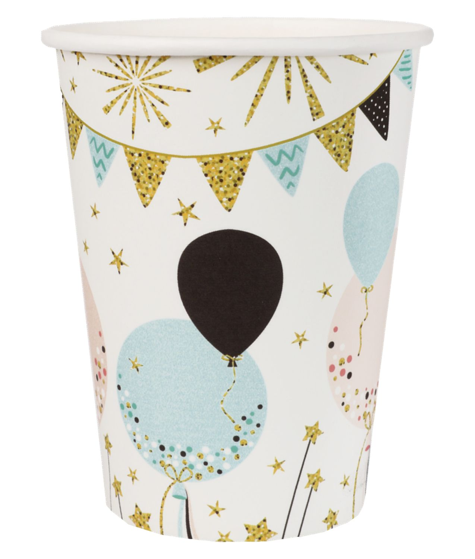 Tischdeko Kindergeburtstag Luftballons Glitzer Deko Pappteller Pappbecher Servietten Partygeschirr Party Mädchen Junge