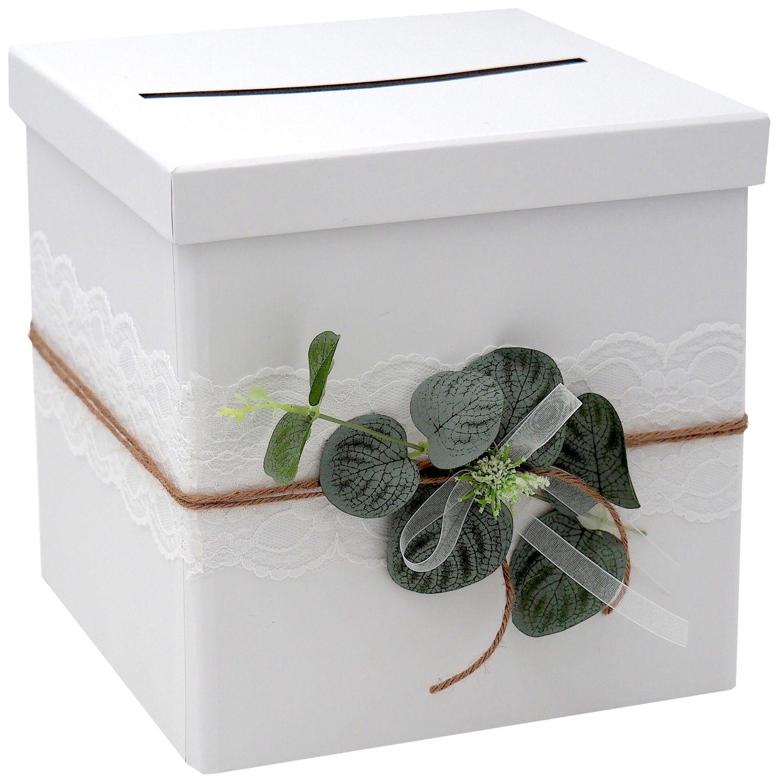 Briefbox Kartenbox Hochzeit Eukalyptus Kommunion Konfirmation Geburtstag Greenery Vintage Spitze