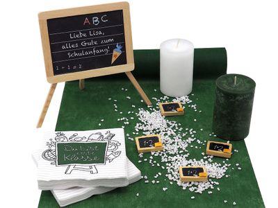 Tischdeko Einschulung Schulanfang Schule Grün Tafel Servietten Streudeko Deko SET