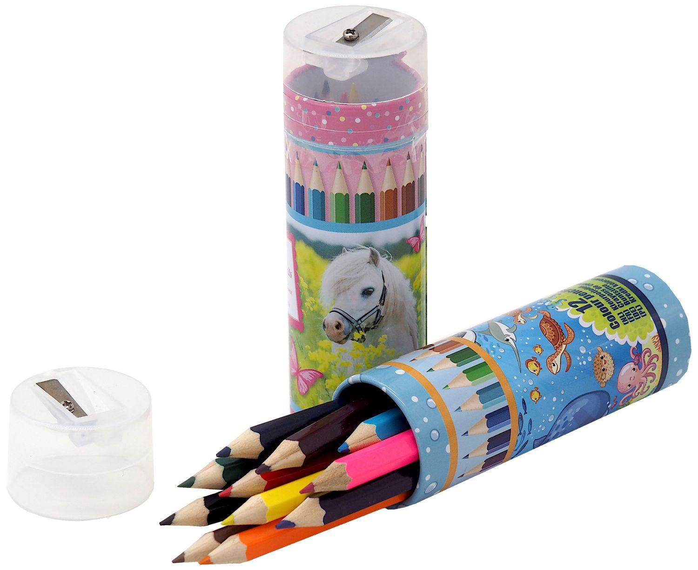 12 MINI Buntstifte in Dose mit Spitzer Malen Deko Geschenk Schule Einschulung Tischdeko