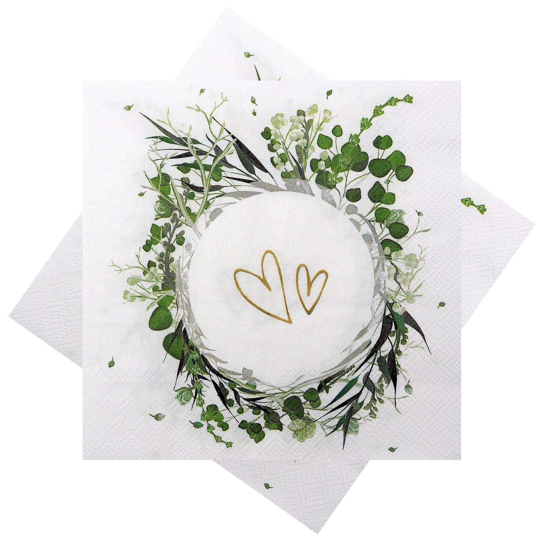 Servietten Blätter Floral Herzen Tischdeko Vintage Hochzeit Geburtstag Partydeko 20 Stück