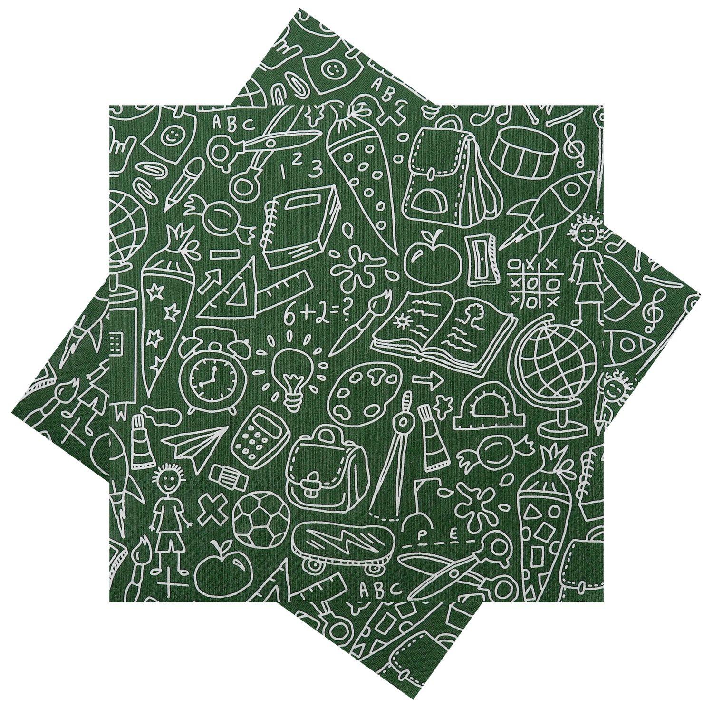 Servietten Tischdeko Einschulung Schulanfang Schule Erster Schultag Grün 20 Stück
