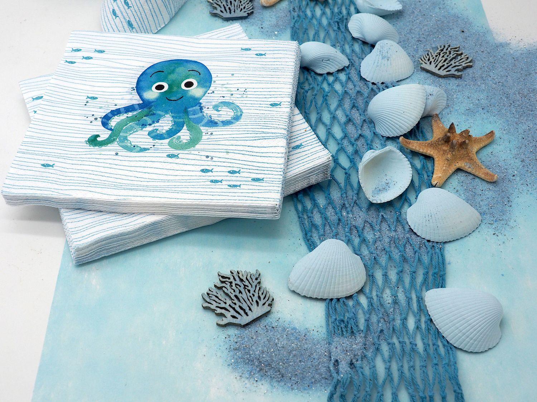 Kindergeburtstag Tischdeko Krake Oktopus Maritime Deko Türkis Mint Blau Sommer Party 20 Personen SET