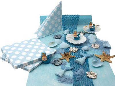 Kindergeburtstag Tischdeko Meerjungfrau Blau Mädchen Party Deko Geburtstag SET