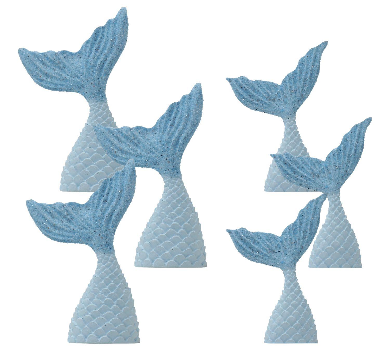 Tischdeko Kindergeburtstag Meerjungfrau Flosse Blau Motto Party Mädchen 6 Stück Nixe Meerjungfrauenflossen