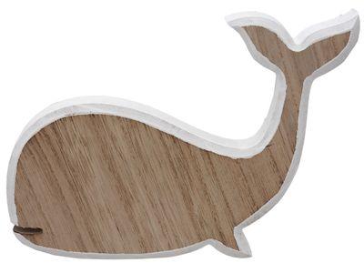 Deko Figur Wal Holz Weiß Natur Maritim Tischdeko