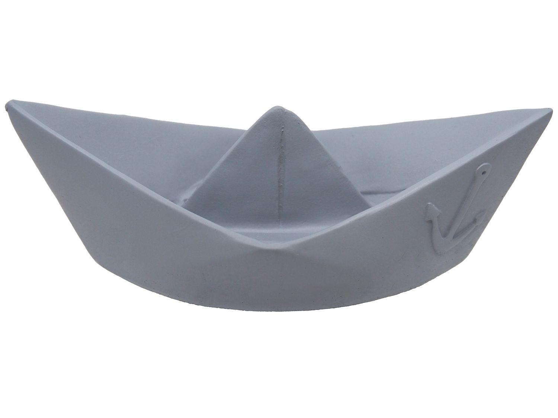 Deko Figur Papierboot Schiff Boot Grau Maritime Deko Tischdeko Taufe Kommunion Konfirmation