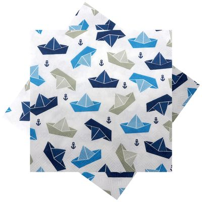 Servietten Papierschiff Papierboot Boot Schiff Blau Taupe Anker Maritime Deko 20 Stück