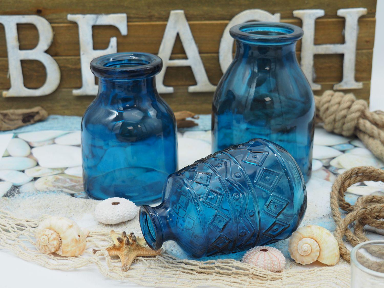 3 Vasen Blumenvasen Glas Blau Dunkelblau Mix Tischdeko Maritim Deko Terrasse Balkon