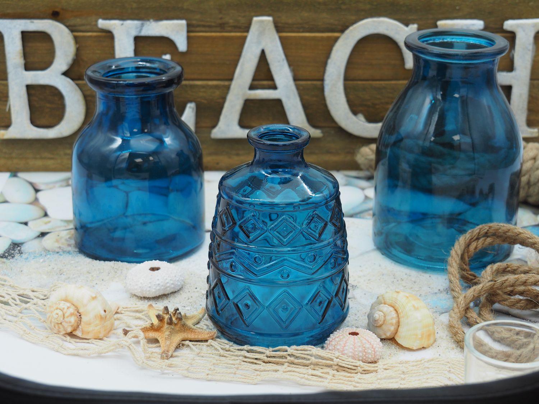 3 Vasen Blumenvasen Glas Blau Dunkelblau Mix Tischdeko Maritime Deko Terrasse Balkon Sommer Garten