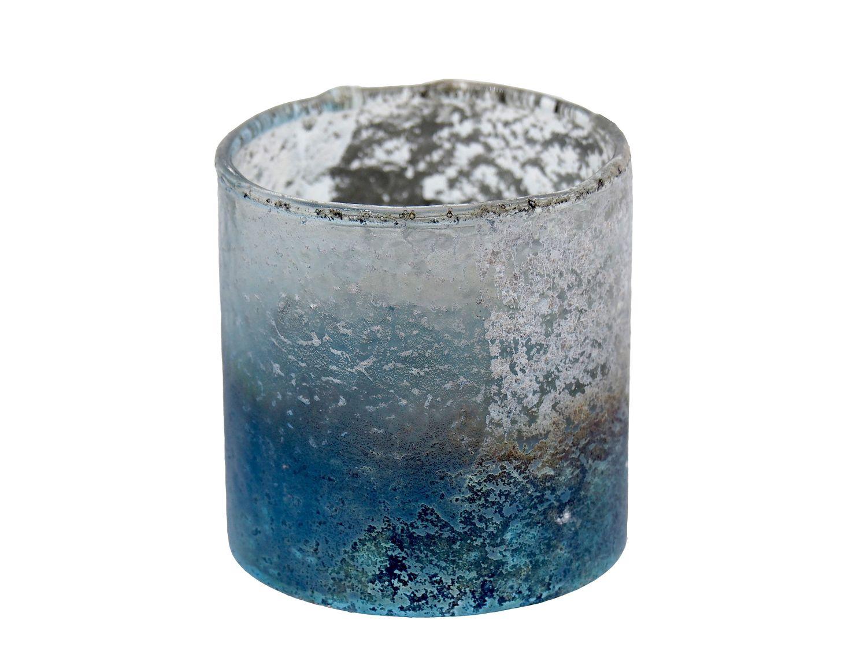 Kerzenhalter Teelichthalter Glas Weihnachtsdeko Maritime Deko Weihnachten Türkis Silber