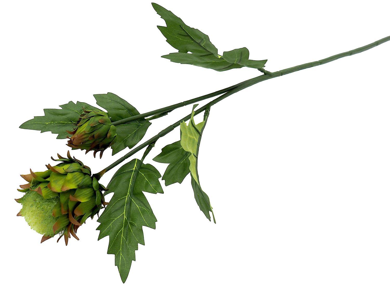 Kunstblume Zweig Distel Blüte Kunstpflanze Grün Basteln Deko 51cm Herbstdeko