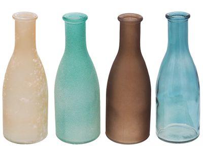 Vasen Glasflaschen Flaschen Türkis Braun MIX Tischdeko Glasvase Blumenvase Deko 4 Stück