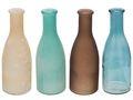Vasen Glasflaschen Flaschen Türkis Braun MIX Tischdeko Glasvase Blumenvase Deko 4 Stück 1