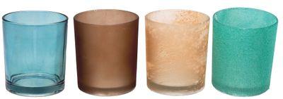 Kerzenhalter Teelichthalter Glas Windlicht Türkis Braun MIX Tischdeko Deko 4 Stück