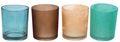 Kerzenhalter Teelichthalter Glas Windlicht Türkis Braun MIX Tischdeko Deko 4 Stück 1