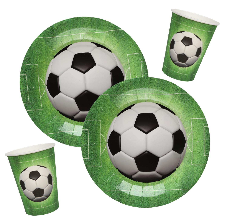 Tischdeko Kindergeburtstag Geburtstag Deko Fußball Sport Pappteller Pappbecher Partygeschirr