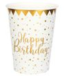 Tischdeko Geburtstag Happy Birthday Gold Pappteller Pappbecher Partygeschirr 3