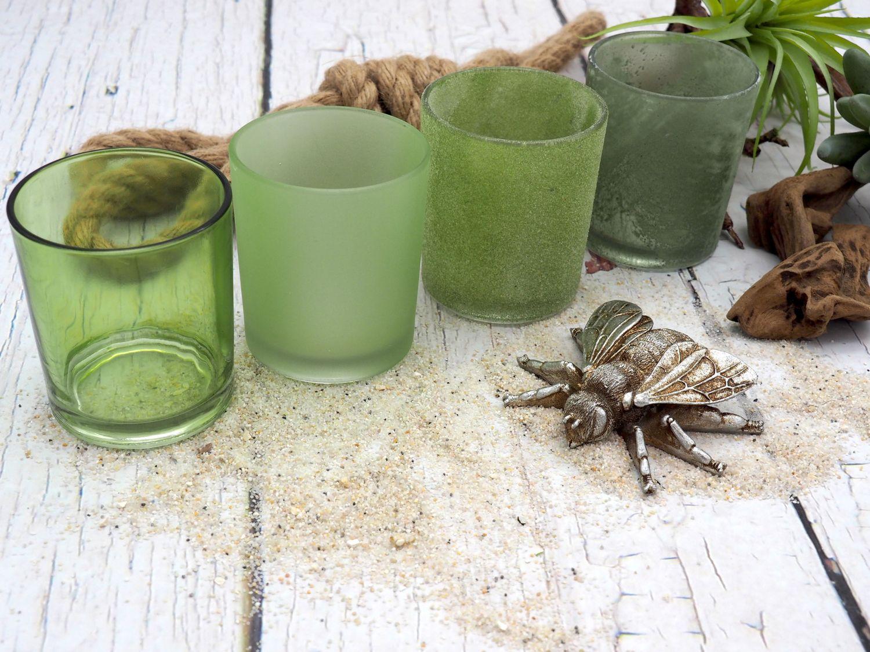 Kerzenhalter Teelichthalter Glas Windlicht Grün MIX Tischdeko Deko 4 Stück