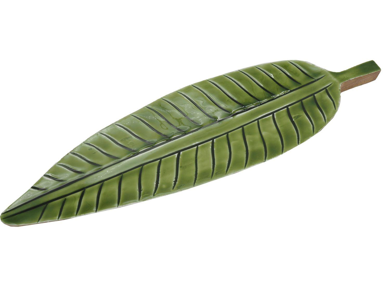 Tablett Schale Dekoschale Holz Blatt Grün Dschungel Natur Tischdeko Deko Terrasse Garten Sommer Herbst