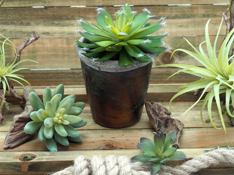 Kunstblume Kunstpflanze Sukkulente im Blumentopf Eckig Kupfer Braun Deko Garten Terrasse Balkon