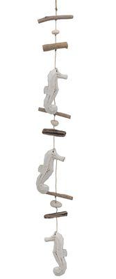 Windspiel Girlande Hängedeko Wandschmuck Holz Seepferdchen Weiß Sommer Tischdeko Maritime Deko