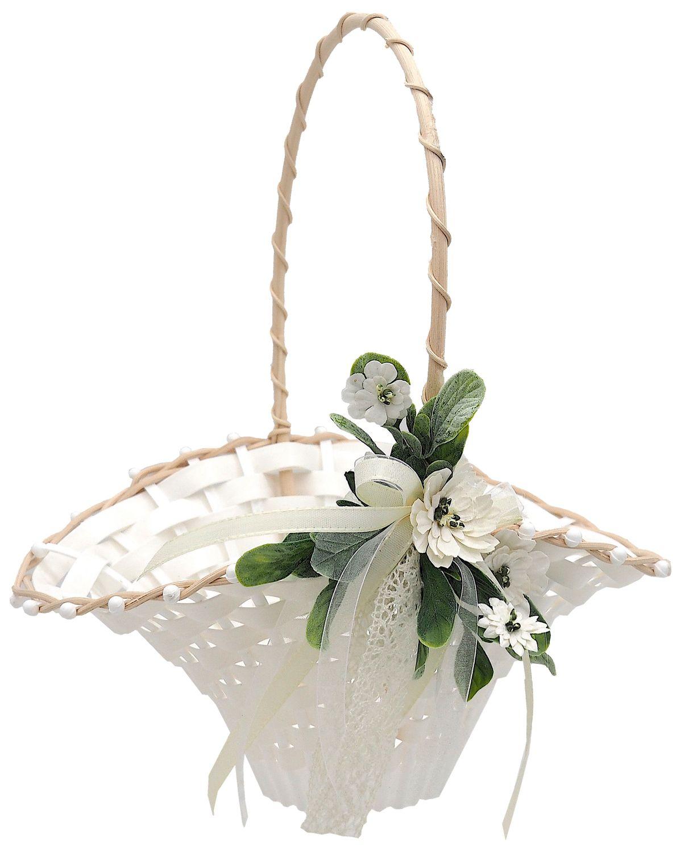 Blumenkörbchen Hochzeit Vintage Streukörbchen Creme Weiß Blumenkind INA