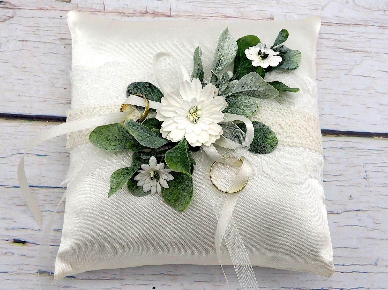 Ringkissen Hochzeit Vintage Creme Weiß Spitze Braut Traukissen INA