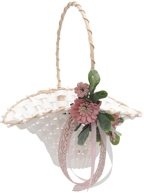 Blumenkörbchen Hochzeit Vintage Streukörbchen Creme Rosa  Blumenkind MIA
