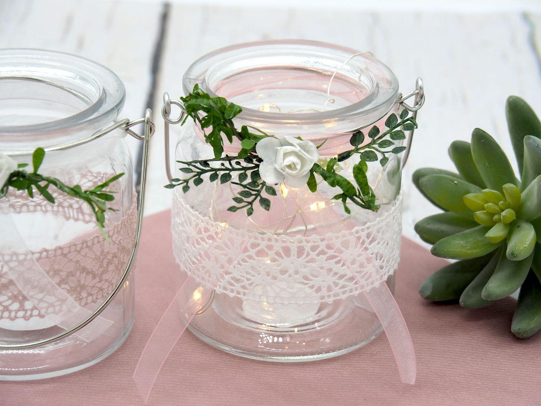 2 Windlichter Kerzenhalter Hochzeit Vintage Rosa Weiß Tischdeko Gläser Deko Geburtstag MARINA