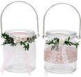 2 Windlichter Kerzenhalter Hochzeit Vintage Rosa Weiß Tischdeko Gläser Deko Geburtstag MARINA 1