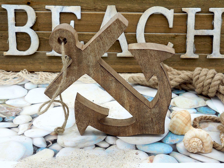 Deko Figur Anker Holz mit Aufhänger Natur Maritime Deko Meer Terrasse 18cm