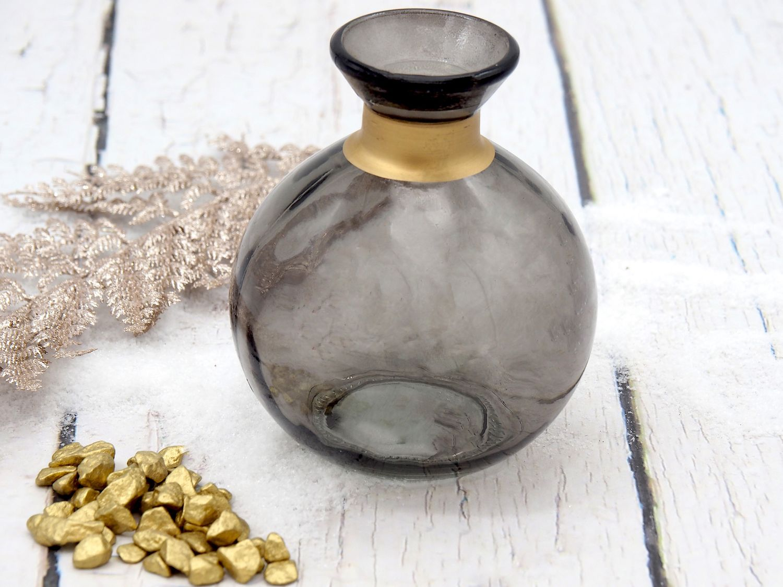Vase Glas Blumenvase Rund Anthrazit Grau Gold Glasvase Deko Tischdeko
