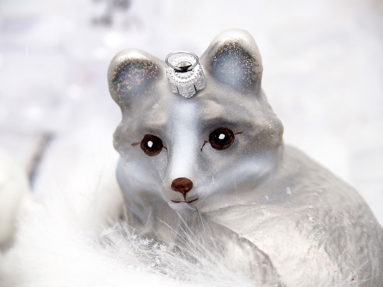Christbaumschmuck Weihnachten Glas Baumschmuck Polarfuchs Fuchs Weihnachtskugel