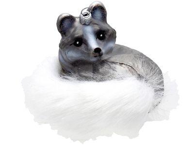 Christbaumschmuck Weihnachtsbaumschmuck Weihnachtsdeko Polarfuchs Fuchs Silber Weiß Glas